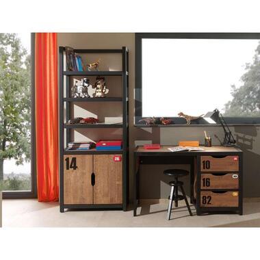 Vipack bureau Alex - bruin/zwart - 60x130x75 cm - Leen Bakker