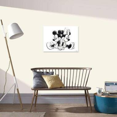 Art for the Home canvas Mickey en Minnie Mouse sitting - wit - 70x50 cm