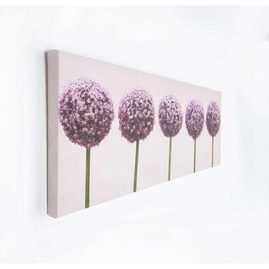 Art for the Home canvas Rij van Alliums - paars - 100x40 cm