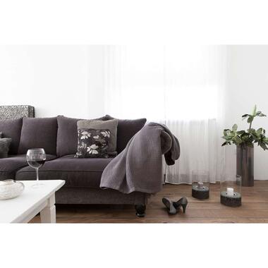 Heckett & Lane plaid Wafel - antraciet - 180x260 cm - Leen Bakker
