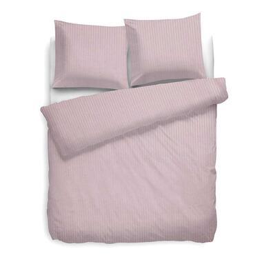 Heckett Lane dekbedovertrek Satijnstreep roze 260x220 cm Leen Bakker