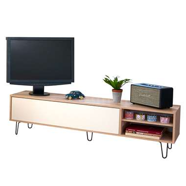 Symbiosis TV-meubel Lardal - eikenkleur/wit - 43,5x165x40 cm - Leen Bakker