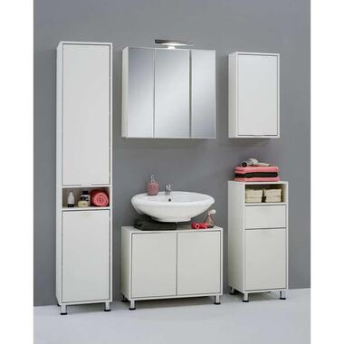 Badkamer spiegelkast Zamora - wit - 69x70x19 cm - Leen Bakker