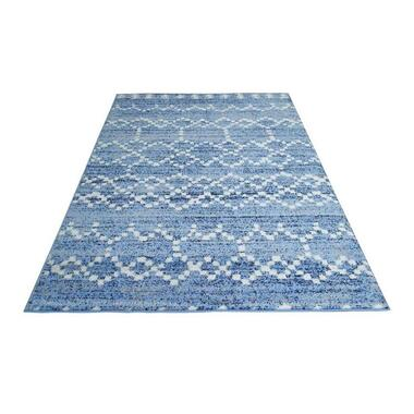 Vloerkleed Florence mozaiek - blauw - 200x290 cm - Leen Bakker