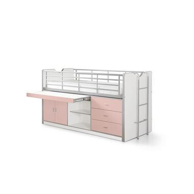 Vipack halfhoogslaper Bonny met uitschuifbaar bureau - roze - 116x96x207 cm - Leen Bakker