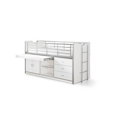 Vipack halfhoogslaper Bonny met uitschuifbaar bureau - wit - 116x96x207 cm - Lee