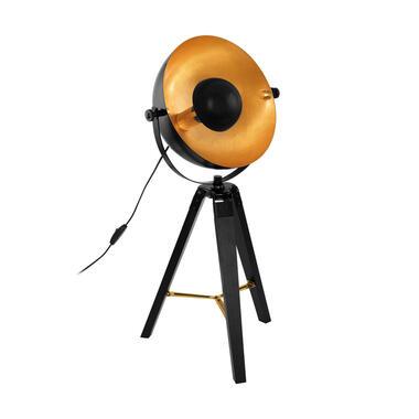 EGLO tafellamp Covaleda - zwart/messing/goud - Leen Bakker
