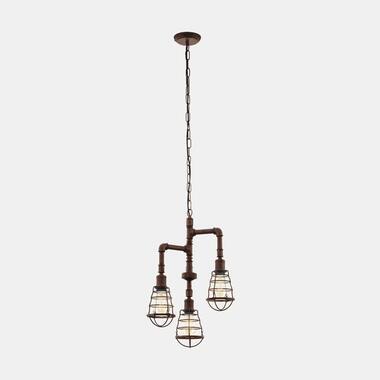 EGLO hanglamp Port Seton 3-lichts - oud bruin - Leen Bakker