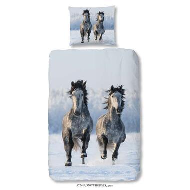 Good Morning dekbedovertrek Snowhorses - multikleur - 140x200/220 cm - Leen Bakker