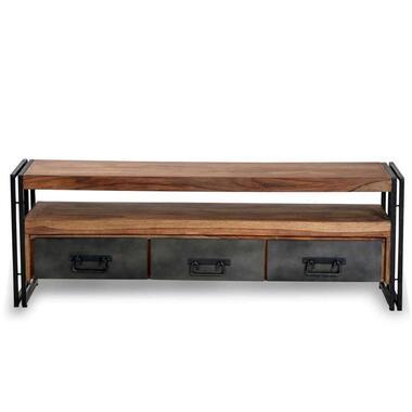 TV-meubel Quin - bruin/zwart - 55x160x40 cm - Leen Bakker