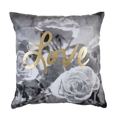 Kaat Amsterdam sierkussen Roses with Love grijs 45x45 cm Leen Bakker