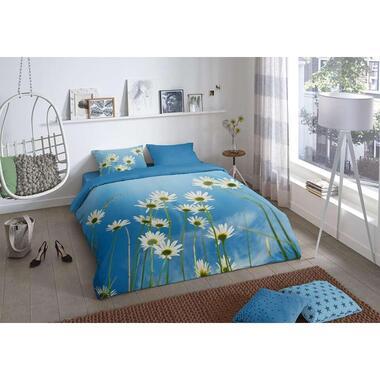 Good morning dekbedovertrek Sunny blauw 200x200 220 cm Leen Bakker