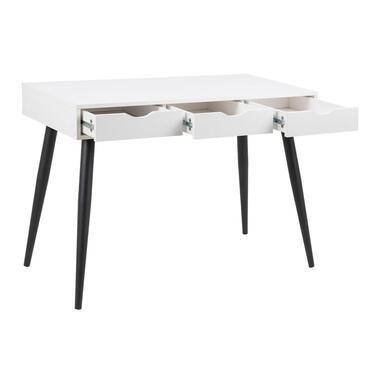 Bureau Montijo - wit/zwart - 77,1x110x50 cm - Leen Bakker