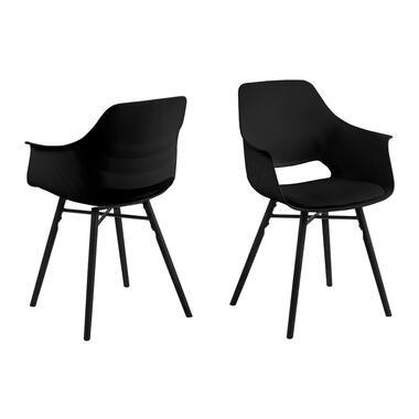 Eetkamerstoel Rekova - kunststof - zwart (2 stuks) - Leen Bakker