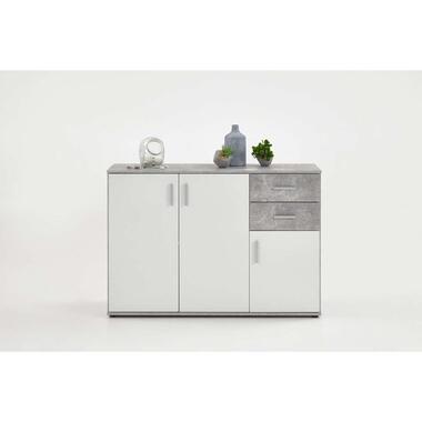 Commode Albi - betonkleur/wit - 120,5x83x35 cm - Leen Bakker