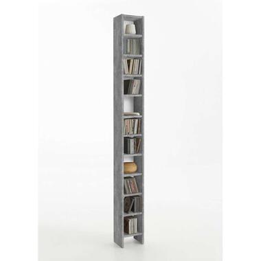 CD/DVD kast Hallo - betonkleur - 19,5x185x16,5 cm - Leen Bakker