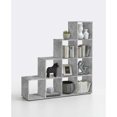 Roomdivider Mega 10 vakken - betonkleur - 138,5x143,4x33 cm - Leen Bakker
