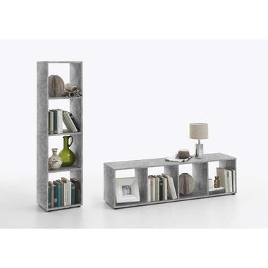 Roomdivider Mega 4 vakken - betonkleur - 140,5x36,5x33 cm - Leen Bakker