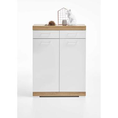 Commode Bristol - oud eikenkleur/wit edelglans - 80x109x35 cm