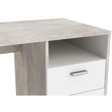 Demeyere bureau Houston - betongrijs/wit - 76,8x121,5x50,1 cm - Leen Bakker