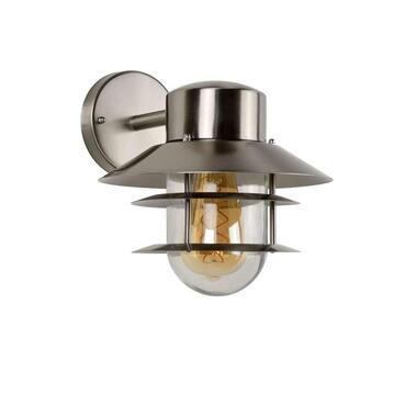Lucide wandlamp buiten ZICO IP44 - mat chroom - Ø21,8 cm - Leen Bakker