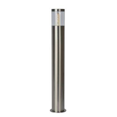 Lucide sokkellamp buiten FEDOR IP44 - mat chroom - 13x13x79,5 cm - Leen Bakker