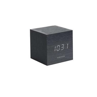 Karlsson alarmklok Cube black - wit LED