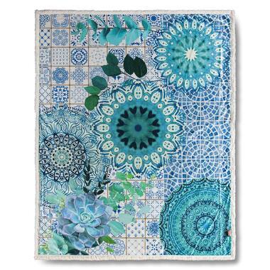 Hip plaid Sinsin - blauw - 130x160 cm - Leen Bakker