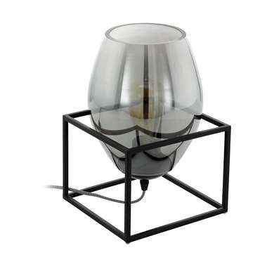EGLO tafellamp Olival 1 - zwart/rookglas - Leen Bakker