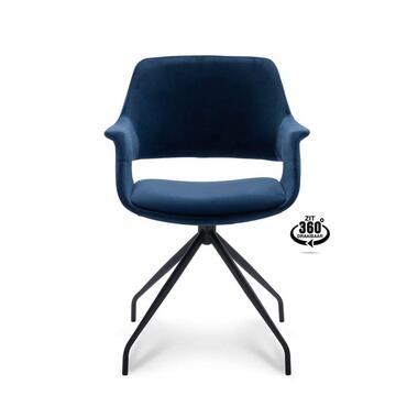 Eetkamerstoel Riccione - velvet - blauw - Leen Bakker