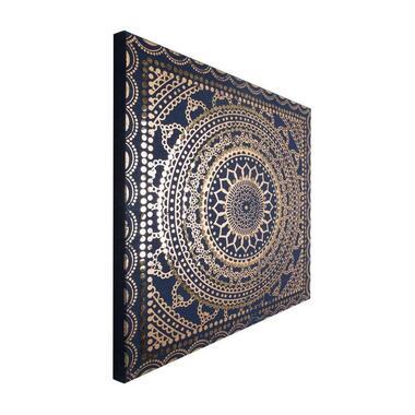 Art For The Home canvas schilderij Pailletten - blauw/goud - 80x80 cm