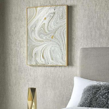 Art For The Home canvas schilderij Marmer - grijs/goud - 50x70 cm