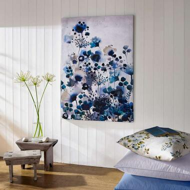 Art For The Home canvas schilderij Bloemen - blauw - 70x100 cm