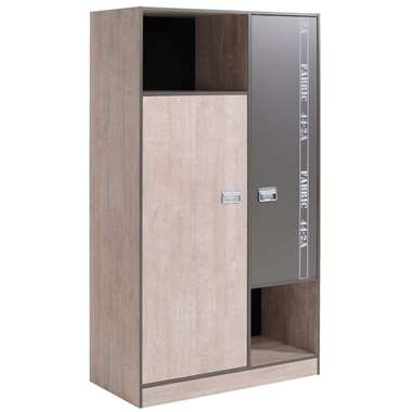Kledingkast Fabric - eikenkleur/grijs - 181,5x101,4x50,5 cm - Leen Bakker