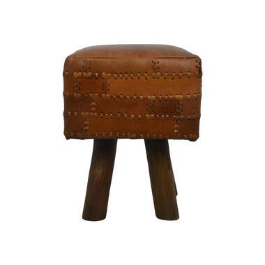 HSM Collection vierkante kruk Jari - patchwork leder - vintage cognac - Leen Bakker
