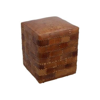 HSM Collection poef Jari - patchwork leder - vintage cognac - Leen Bakker