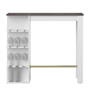 Symbiosis bartafel Farso - wit/ betonkleur - 103x115x50 cm - Leen Bakker