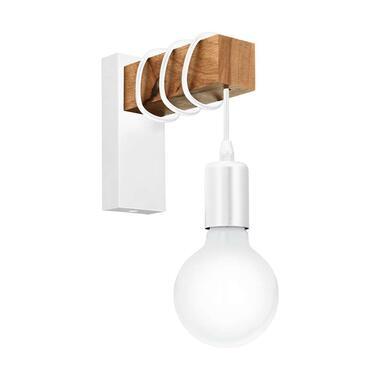 EGLO wandlamp Townshend - wit/eikenkleur - Leen Bakker