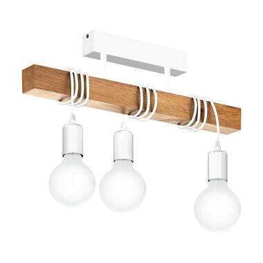 EGLO plafondlamp Townshend - wit/eikenkleur - Leen Bakker