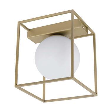EGLO wand/plafondlamp Vallaspra - champagnekleur/wit - Leen Bakker