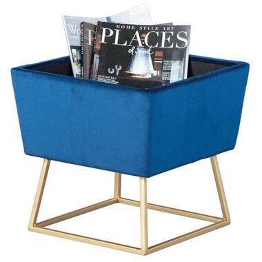 Kruk Surin - blauw/goudkleurig - 42x38x38 cm - Leen Bakker