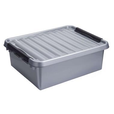 Stapelbare Q-line opbergbox 25 liter - grijs/zwart - 18x40x50 cm - Leen Bakker