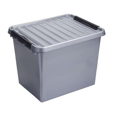 Stapelbare Q-line opbergbox 52 liter - grijs/zwart - 38x40x50 cm - Leen Bakker