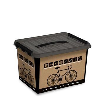 Q-line multibox fiets 22 liter - zwart/transparant - 26x30x40 cm - Leen Bakker