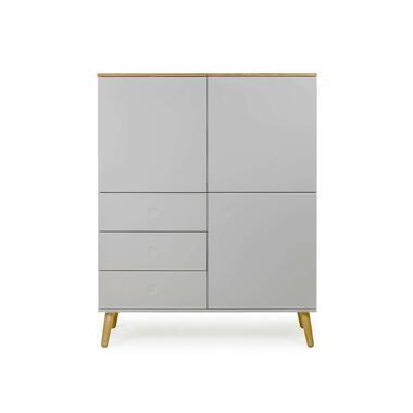 Tenzo wandkast Dot - grijs/eiken - 137x109x43 cm - Leen Bakker