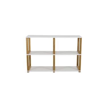 Tenzo boekenkast Art - wit/eikenkleur - 80x120x36 cm - Leen Bakker