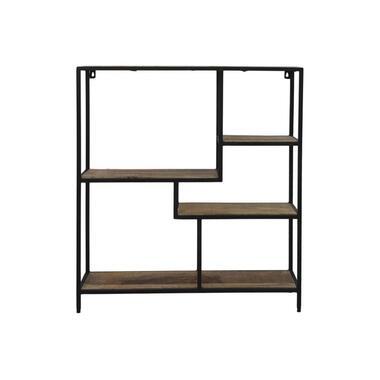 Wandkast Levels - naturel/zwart - 80x70x20 cm - Leen Bakker