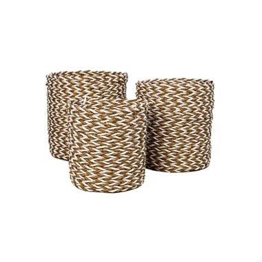 HSM Collection mandenset Enna (3 stuks) - naturel/wit - Leen Bakker