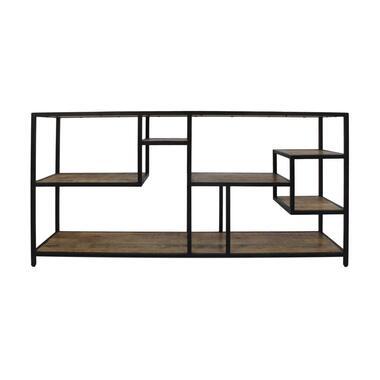 Wandkast Levels - naturel/zwart - 80x160x38 cm - Leen Bakker