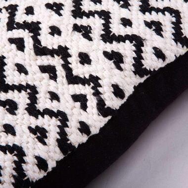 Sierkussen Kelim driehoek - zwart/wit - 45x45 cm - Leen Bakker